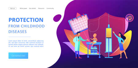 Pediatrics and childcare. Doctor give injection. Infant and child vaccines, newborn vaccination schedule, protection from childhood diseases concept. Website homepage landing web page template.