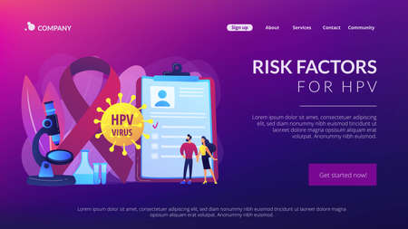 Human papillomavirus development. Disease symptom. Risk factors for HPV, HPV infection leads to cervical cancer, cervical cancer screening concept. Website homepage landing web page template.