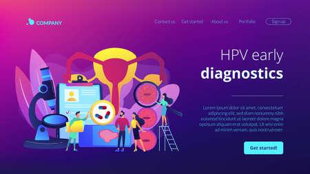 HPV virus checkup. Viral infection diagnosis. Human papillomavirus treatment, HPV early diagnostics, medications for human papillomavirus concept. Website homepage landing web page template.
