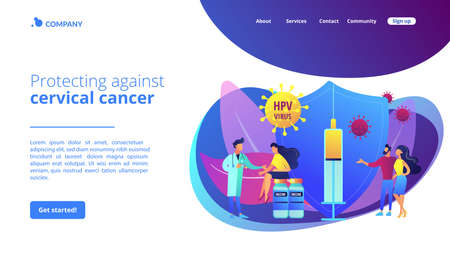 HPV infection medication. Virus prevention. HPV vaccination, protecting against cervical cancer, human papillomavirus vaccination program concept. Website homepage landing web page template.