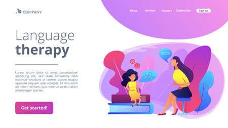 Speech-language pathologist. Basic language skills. Articulation problem. Speech therapy, language therapy, improve language development concept. Website homepage landing web page template.