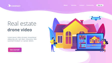 Couple watching house tour. Professional aerial property video. Real estate video tour, real estate marketing, real estate drone video concept. Website homepage landing web page template.
