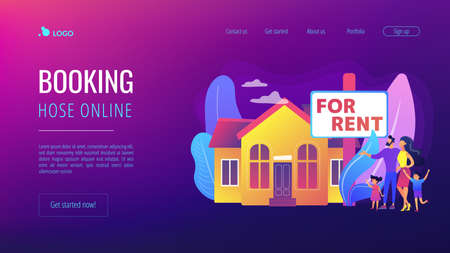 Family moving to countryside area. Realtor shows townhouse. House for rent, booking hose online, best rental property, real estate services concept. Website homepage landing web page template.