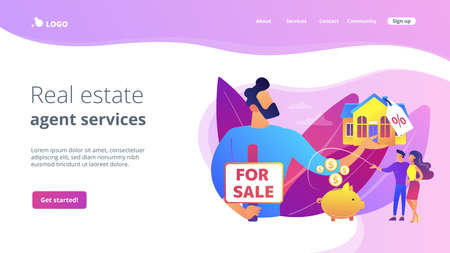 Married couple searching home. Realtor offering property with discount. House for sale, selling house best deal, real estate agent services concept. Website homepage landing web page template. 矢量图像
