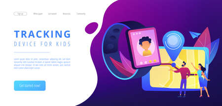 Parents looking at child location on tablet and GPS traking watch. GPS kids tracker, kids tracking and parental control concept on white background. Website vibrant violet landing web page template.