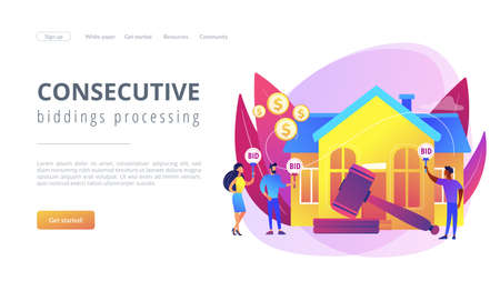 Property buying and selling. Auction house, exclusive bids here, consecutive biddings processing, business that runs auctions concept. Website homepage landing web page template.