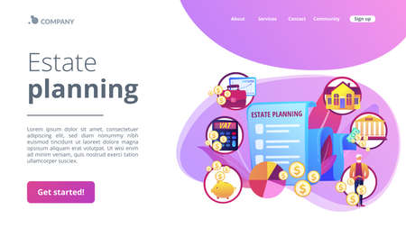 Financial analysis and budgeting. Property taxes and expenses. Estate planning, real estate assets control, keep documents in order concept. Website homepage landing web page template. Stock Illustratie