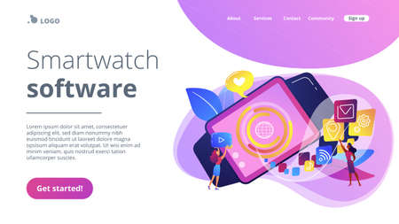 Smartwatch with applications icons and users. Smartwatch app, smartwatch development and smartwatch software concept on white background. Website vibrant violet landing web page template. Ilustracja