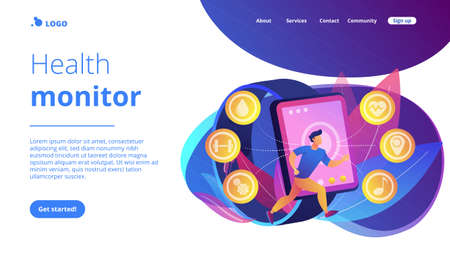 Runner uses smartwatch sport and health apps. Fitness tracker, activity band, health monitor and wrist-worn device concept on white background. Website vibrant violet landing web page template.