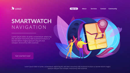 Users looking at smartwatch with GPS navigation pin. Smartwatch navigation, outdoor GPS watch and smart GPS tracker concept on white background. Website vibrant violet landing web page template. Illusztráció