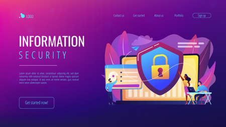 Security analysts protect internet-connected systems with shield. Cyber security, data protection, cyberattacks concept on white background. Website vibrant violet landing web page template. 일러스트