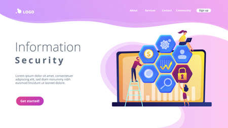 Cyber security risk analysts team reduce risks. Cyber security management, cyber security risk, management strategy concept on white background. Website vibrant violet landing web page template.