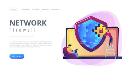 Programmer with jigsaw shield system monitoring network traffic. Firewall, network security system and network firewall concept on white background. Website vibrant violet landing web page template.