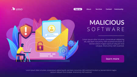 Computer pirate hacker create software designed to cause damage to a computer, server or computer network. Malware, computer virus, spyware concept. Website vibrant violet landing web page template.