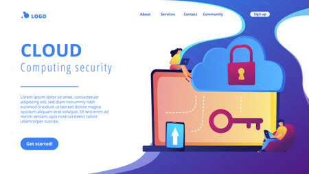 Architect and engineer working on technologies and controls to protect data and applications. Cloud computing and cloud information security concept. Website vibrant violet landing web page template. 일러스트