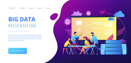 Software Engineer, Statistician, Visualizer and Analyst working on a project. Big data conference, big data presentation, data science concept. Website vibrant violet landing web page template. 免版税图像 - 151154111