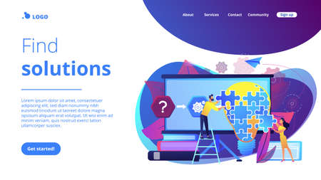 Team working on analyzing the factors or causes contributing to the unwanted situation. Problem solving, find solutions, problem-solving techniques. Website vibrant violet landing web page template. Vectores
