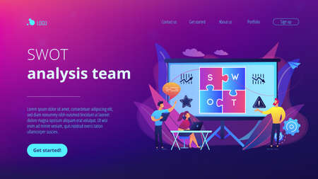 SWOT analysis team working on list of your opportunities, strategizing and monitoring. SWOT analysis and matrix, strategic planning concept. Website vibrant violet landing web page template. 免版税图像 - 151154116