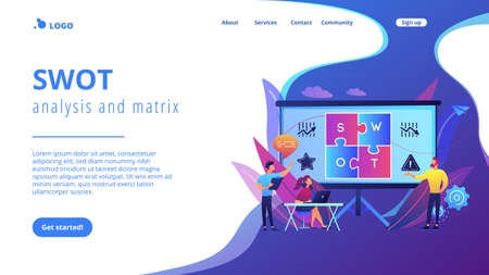 SWOT analysis team working on list of your opportunities, strategizing and monitoring. SWOT analysis and matrix, strategic planning concept. Website vibrant violet landing web page template.