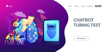 Programmers testing chatbot intelligence and brain with circuit. Chatbot Turing test, intelligent behavior, human-like response concept. Website vibrant violet landing web page template.  イラスト・ベクター素材