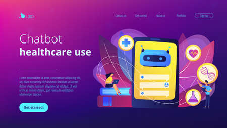 Medical chatbot gives healthcare consultation to patient. Chatbot healthcare use, artificial intelligence caregiver, anonymous consultation concept. Website vibrant violet landing web page template. Ilustracja