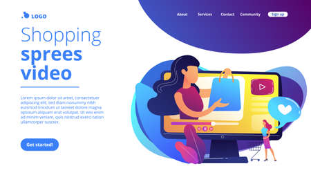 Business woman enjoys video with buyer on shopping sprees. Shopping sprees video, haul video content, beauty fashion lifestyle channel concept. Website vibrant violet landing web page template.