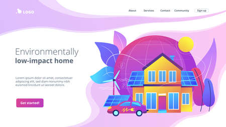Future smart tech. Alternative electrical power, ecology friendly energy. Eco house, environmentally low-impact home, ecohome technology concept. Website homepage landing web page template. 矢量图像