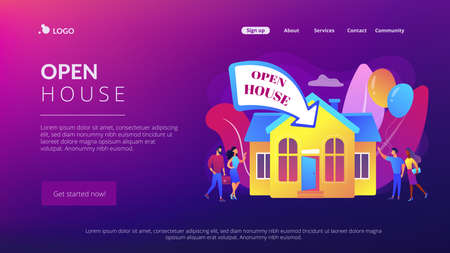 People going to housewarming party flat characters. Open house, open for inspection property, welcome to your new home, real estate service concept. Website homepage landing web page template. 矢量图像