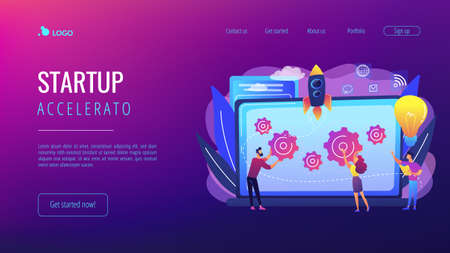 Startup team receive mentoring and training to accelerate growth and laptop. Startup accelerator, seed accelerator, startup mentoring concept. Website vibrant violet landing web page template.