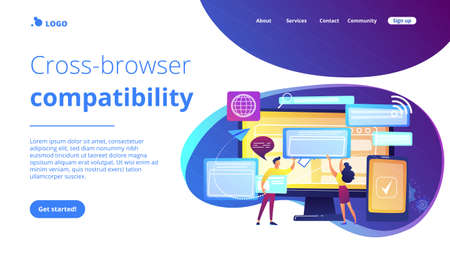Programmers with browser windows and pc and tablet. Cross-browser compatibility, cross-browser and browser compatible concept on white background. Website vibrant violet landing web page template. Vector Illustration