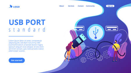 Businessman and woman choosing port to insert cable and USB symbol. USB connection, USB port standard, digital data communications concept. Website vibrant violet landing web page template.