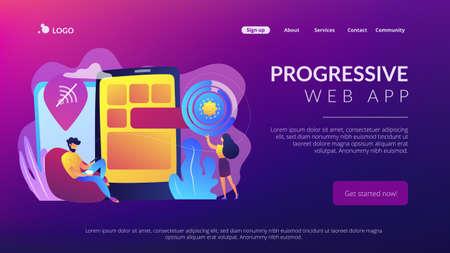 Developer working on web app on smartphone, user offline, tiny people. Progressive web app, working offline web, PWA application development concept. Website vibrant violet landing web page template.