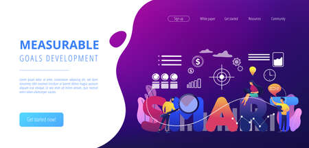 Tiny business people working on goals and sitting on smart word. SMART Objectives, objective establishment, measurable goals development concept. Website vibrant violet landing web page template.