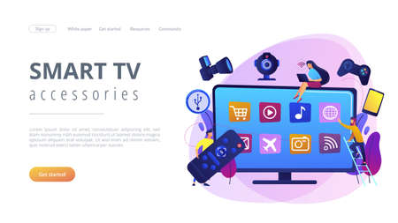 Tiny people using smart television connected to modern digital devices. Smart TV accessories, interractive TV entertainment, gaming TV tools concept. Website vibrant violet landing web page template. 일러스트
