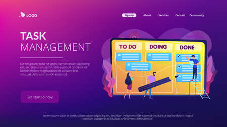 Tiny business people and manager at tasks and goals accomplishment chart. Task management, project managers tool, task management software concept. Website vibrant violet landing web page template.