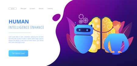 Modern robot intelligence and human brain connected. Augmented intelligence, human intelligence enhance, AI human support concept. Website vibrant violet landing web page template.