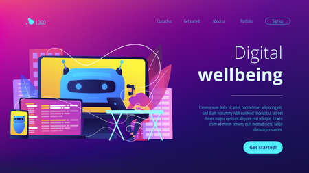 User with computer, laptop and tablet screens with chatbot and digital habits. Digital wellbeing, digital health, device stress managing concept. Website vibrant violet landing web page template.