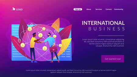 Successful partnership negotiation, partners handshaking. International business, global business collaboration, international teamwork concept. Website homepage landing web page template.