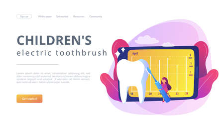Learning brush teeth through play. Children's electric toothbrush, sensor smart toothbrushes, app connected tooth cleaning, fun oral care concept. Website homepage landing web page template. Stock fotó - 151162916