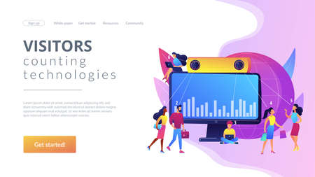 Electronic device for measuring number passageway people. People counter system, visitors counting technologies, retail traffic report concept. Website homepage landing web page template.