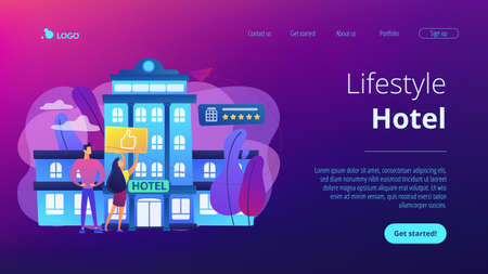 Business people with thumb up for modern trendy lifestyle hotel. Lifestyle hotel, modern hospitality trend, cutting-edge hotel concept. Website vibrant violet landing web page template.  イラスト・ベクター素材