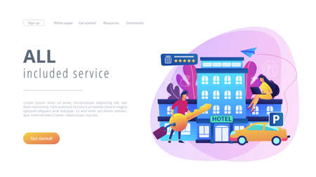 Business people at hotel use all included services, lodgings and wifi. All-inclusive hotel, luxury hospitality resort, all included service concept. Website vibrant violet landing web page template.