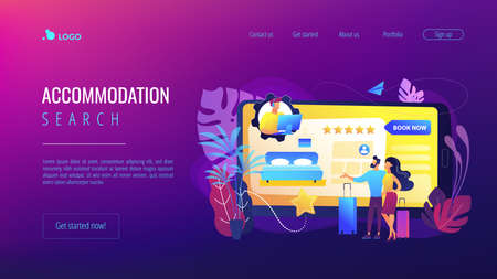 Room reservation online customer support, consultation. Virtual reception office. Internet booking, accommodation search helpline chat concept. Website homepage landing web page template. Векторная Иллюстрация