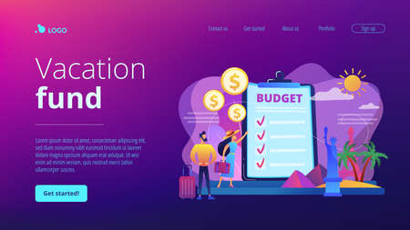 Couple planning honeymoon holiday, choosing trip destination flat characters. Vacation fund, summer spending plan, vacation budget plan concept. Website homepage landing web page template.