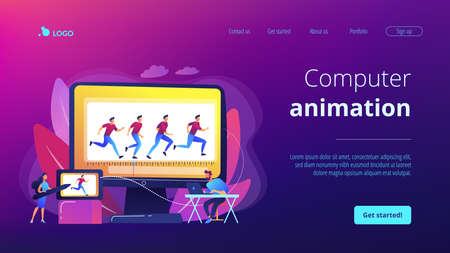 Animator working on character movement. Designing frames of walking. Computer animation, cartoon video creation, make your story alive concept. Website homepage landing web page template.
