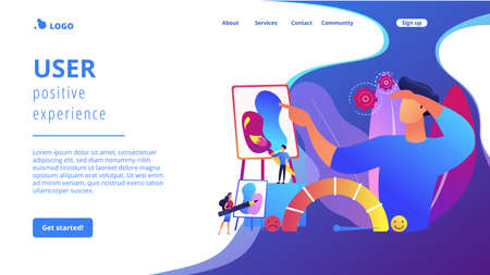 Expressing thoughts and feelings , satisfaction through art. Emotional design, user positive experience, design of client emotions concept. Website homepage landing web page template.
