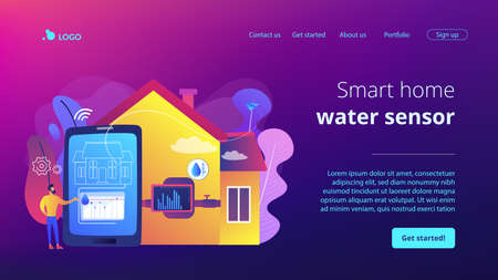 Smart home, house automation Water contamination detection system, real time water anomalies tracking, smart home water sensor concept. Website homepage landing web page template. Illustration