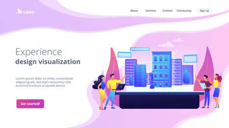 Augmented reality urban modeling, city VR experience. Interactive design visualization, virtuality architecture, virtual reality experiences concept. Website homepage landing web page template.