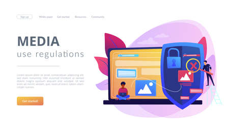 Prohibited, illegal sites, resources. Copyright protection from scamming. Media content control, media use regulations, online media police concept. Website homepage landing web page template. Ilustración de vector