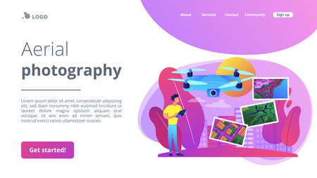 Drone, quadcopter operator, pilot making photos. UAV with camera. Aerial photography, air survey services, drone photo of your event concept. Website homepage landing web page template.